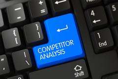 Blue Competitor Analysis Key on Keyboard. 3D Illustration Stock Illustration