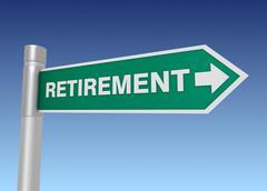 Retirement road sign 3d illustration Stock Illustration
