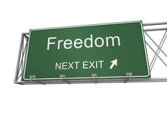 Freedom road sign 3d illustration Stock Illustration