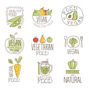 Vegan Raw And Healthy Food Promo Labels Collection Stock Illustration
