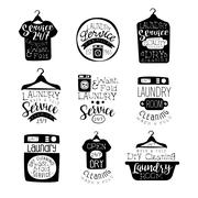 Laundry Room Black And White Label Set Stock Illustration