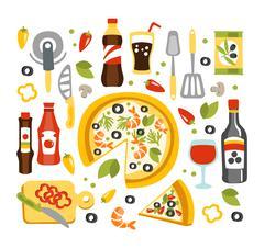 Pizza Preparation Set Of Utensils Illustration Stock Illustration
