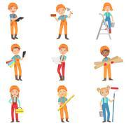 Children Doing Construction Work Set Stock Illustration