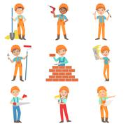 Construction Work And Kids Builders Set Stock Illustration