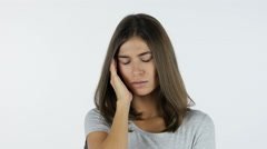 Headache, Frustrated Beautiful Girl, White Background in Studio Stock Footage