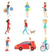 Women And Girls Different Lifestyle  Activities Set Stock Illustration