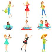 Women And Girls Different Lifestyle  Activities Collection Stock Illustration