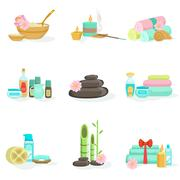 Oriental Skincare Spa Center Beauty Products And Treatments Stock Illustration