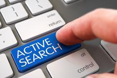 Active Search - Keyboard Key Concept. 3D Illustration Stock Illustration