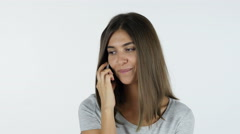 Talking on Phone Beautiful Girl, White Background in Studio Stock Footage