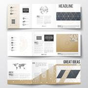 Set of tri-fold brochures, square design templates. Abstract polygonal low poly Stock Illustration