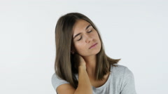 Tired Beautiful Girl, White Background in Studio Stock Footage