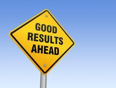 Good results ahead road sign 3d illustration Stock Illustration