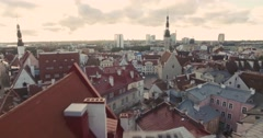 4K Old town - Fast overfly in Tallinn, Estonia Stock Footage
