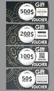 Set of modern gift voucher templates. Polygonal backdrop with golden connecting Stock Illustration