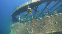 Back side of shipwreck - Umbria, Red Sea, Sudan Stock Footage