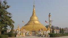 Myanmar stupa,Kushinagar,India Stock Footage