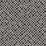Vector Seamless Black and White Distorted Rectangle Mosaic Grid Pattern Stock Illustration