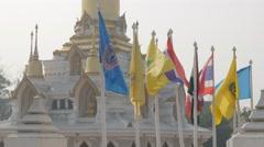 Flags at thai temple,Kushinagar,India Stock Footage