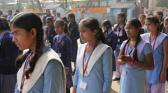 School kids lined up at school,Kushinagar,India Stock Footage