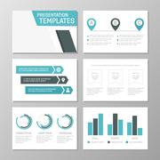 Set of turquoise template for multipurpose presentation slides. Leaflet, annual Stock Illustration