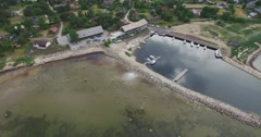 4K Aerial view of a small dock Stock Footage