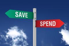 Save spend road sign 3d illustration Stock Illustration