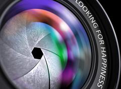 Closeup Lens of Digital Camera with Looking For Happiness Stock Illustration