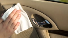 Cleaning interior car Stock Footage
