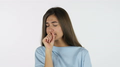 Coughing Sick Beautiful Girl, White Background in Studio Stock Footage