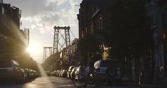 Williamsburg Bridge - sunset - Brooklyn - summer 2016 - 4k Stock Footage