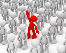 Standing out from the crowd concept  3d illustration Stock Illustration