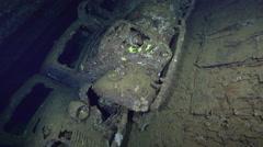 Cars inside the Umbria shipwreck - Red sea, Sudan Stock Footage