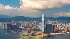 Kowloon Hong Kong cityscape panorama timelapse. Modern asian city background Stock Footage