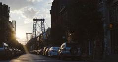 Williamsburg Bridge - sunset - New York City - 4k Stock Footage