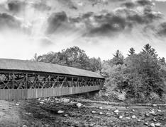 Bartlett Bridge over Saco river Stock Photos