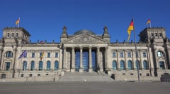 Federal Government Office - German Bundestag Reichtagsgebaeude in Berlin Stock Footage