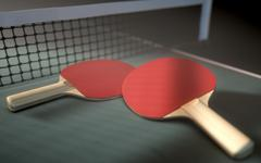 Table Tennis Table And Paddles Stock Illustration
