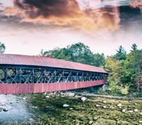New England wooden bridge at dusk Stock Photos