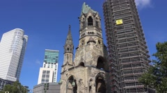Kaiser Wilhelm Memorial Church in Berlin Stock Footage
