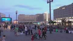 Famous Alexanderplatz in Berlin city center - busy area Stock Footage
