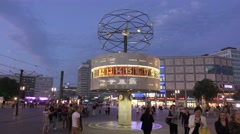Famous World clock at Alexanderplatz square - tourist attraction Stock Footage