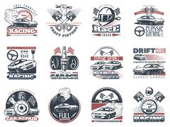 Set of car racing colored emblems, labels and championship race badges Stock Illustration