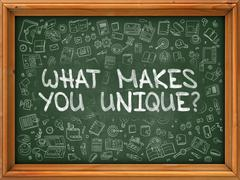 Hand Drawn What Makes You Unique on Green Chalkboard Stock Illustration