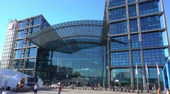 The modern glass building of Berlin Central Station Stock Footage
