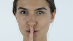 Silence Gesture, Close up of Girl, White Background in Studio Stock Footage