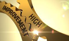 High Improvement Concept. Golden Cog Gears. 3D Illustration Stock Illustration