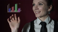 4K Corporate Shot of a Business Woman Clicking on the Button with Stats  Stock Footage