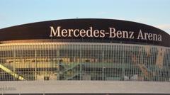 Mercedes Benz Arena in Berlin - big event venue Stock Footage