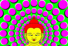 Psychedelic Buddha with moving background Stock Illustration